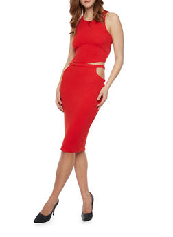 Sleeveless Caged Back Top With Cutout Pencil Skirt Set - RED - 1094038347789