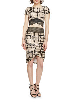 Window Pane Print Crop Top and Skirt Set with Shadow Stripe Detail - NATURAL - 1094038347790
