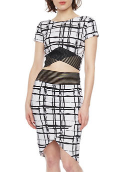 Window Pane Print Crop Top and Skirt Set with Shadow Stripe Detail - WHT-BLK - 1094038347790