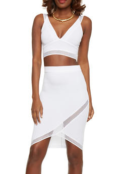 Fishnet Trim Crop Top and Pencil Skirt Set - WHITE - 1094038347791