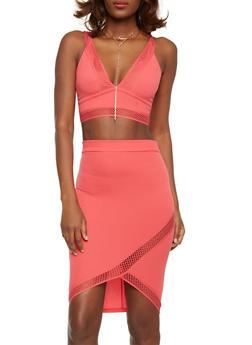 Fishnet Trim Crop Top and Pencil Skirt Set - 1094038347791