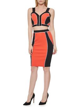 Textured Front  Zip Color Block Crop Top with Pencil Skirt - CORAL - 1094038347792