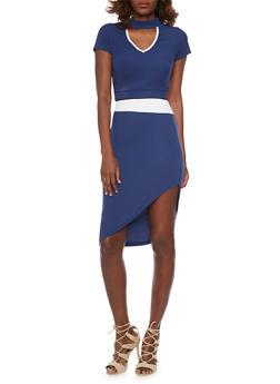 Mock Neck Crop Top with Asymmetrical Skirt Set - NAVY - 1094038347793