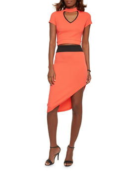 Mock Neck Crop Top with Asymmetrical Skirt Set - CORAL - 1094038347793