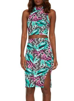 Tropical Print Mockneck Crop Top and Pencil Skirt Set - 1094038347796