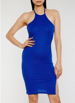 Rib Knit Halter Bodycon Dress - 1094038347801