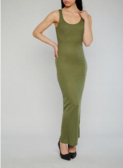 Rib Knit Maxi Tank Dress - OLIVE - 1094038347802