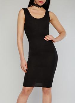Sleeveless Ribbed Tank Dress - BLACK - 1094038347803