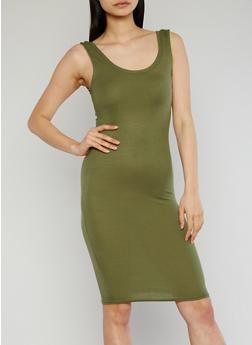 Sleeveless Ribbed Tank Dress - OLIVE - 1094038347803