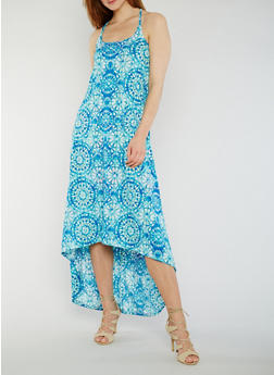 Printed High Low Tank Dress - 1094038347828
