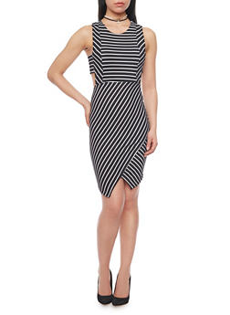 Sleeveless Striped Bodycon Dress with Side Cutouts - 1094038347851