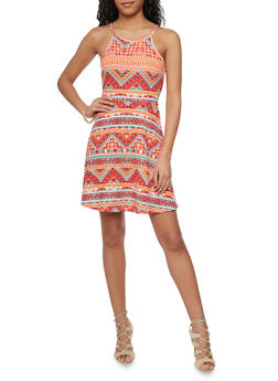 Sleeveless Printed Skater Dress - 1094038347852