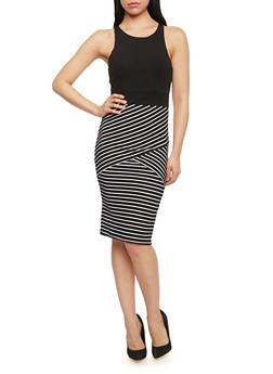 Sleeveless Striped Bodycon Dress - BLACK/WHITE - 1094038347854