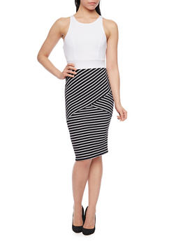 Sleeveless Striped Bodycon Dress - 1094038347854