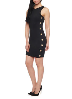 Sleeveless Textuered Knit Bodycon Dress with Grommets - BLACK - 1094038347855