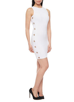 Sleeveless Textuered Knit Bodycon Dress with Grommets - 1094038347855