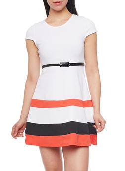 Cap Sleeve Colorblock Skater Dress with Belt - 1094038347856
