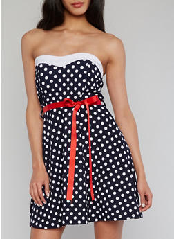 Strapless Polka Dot Dress with Ribbon Belt - 1094038347858