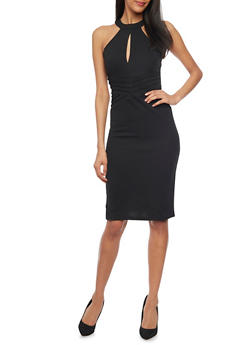 Midi Length Texture Knit Bodycon Dress With Keyhole Neck Detail - BLACK - 1094038347859