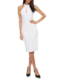 Midi Length Texture Knit Bodycon Dress With Keyhole Neck Detail - 1094038347859