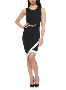 Textured Knit Faux Wrap Front Bodycon Dress - 1094038347862