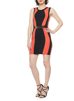 Texture Knit Color Block Bodycon Dress with Metal Bar Accent - 1094038347863