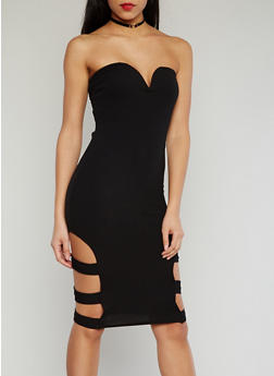 Strapless Sweetheart Neck Bodycon Dress with Caged Sides - 1094038347866