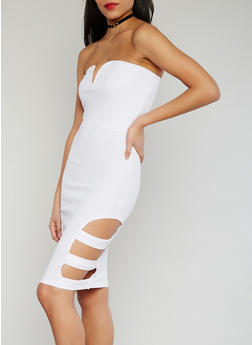 Strapless Sweetheart Neck Bodycon Dress with Caged Sides - WHITE - 1094038347866