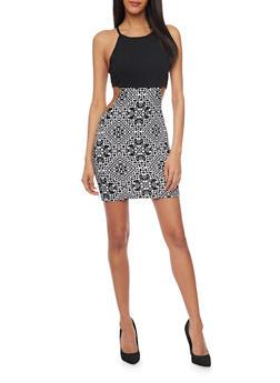 Mini Aztec Print Bodycon Dress with Cutout Sides - BLACK/WHITE - 1094038347871