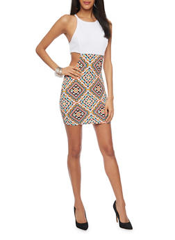 Mini Aztec Print Bodycon Dress with Cutout Sides - 1094038347871