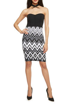 Aztec Print Textured Knit Bodycon Dress - 1094038347872