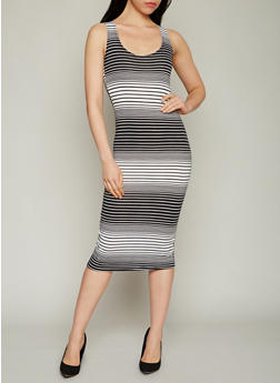 Sleeveless Striped Mid Length Bodycon Dress - 1094038347910