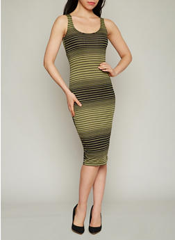 Sleeveless Striped Mid Length Bodycon Dress - 1094038347910