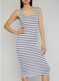 Striped Mid Length Tank Dress - 1094038347911