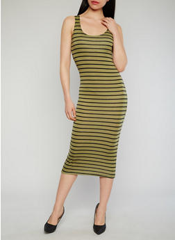 Striped Mid Length Tank Dress - OLIVE - 1094038347911