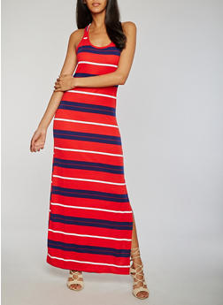Striped Scoop Neck Tank Maxi Dress with Side Slit - 1094038347922