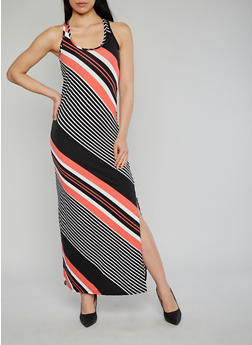 Multi Color Striped Maxi Dress - 1094038347923
