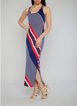 Multi Color Striped Maxi Dress - 1094038347923