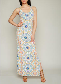 Printed Racer Back Maxi Dress - 1094038347924
