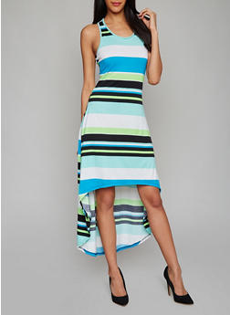 Multi Color Striped High Low Tank Dress - 1094038347932