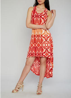 Sleeveless Printed High Low Dress - 1094038347935