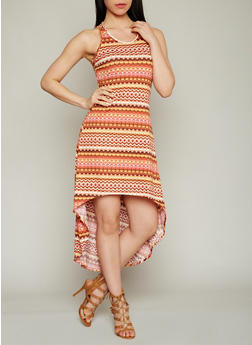 Printed High Low Racerback Dress - 1094038347937