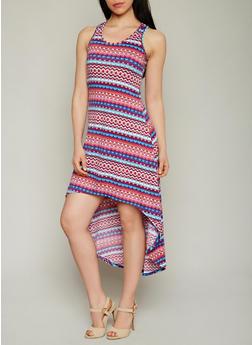 Printed High Low Racerback Dress - 1094038347937