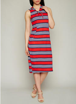 Striped Sleeveless Mid Length Dress with Hoodie - 1094038347940