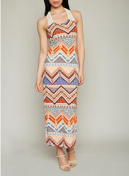 Printed Racerback Maxi Dress with Crochet Detail - 1094038347950