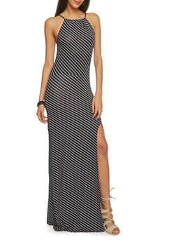 Striped Maxi Dress with Side Slit - 1094038347985