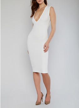 Plunging V Neck Bandage Dress - IVORY - 1094038347987