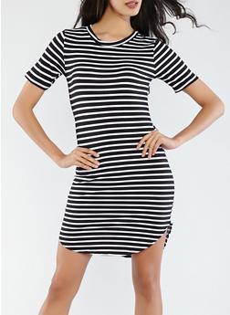 Striped Soft Knit Dress - 1094038348033
