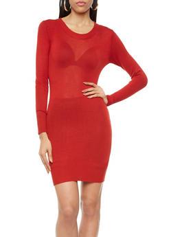 Long Sleeve Bodycon Knit Sweater Dress,RUST,medium