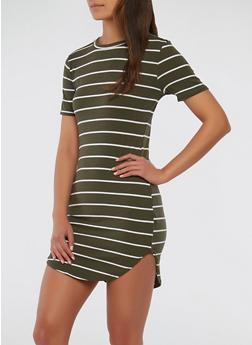 Striped Rib Knit T Shirt Dress - 1094038348701